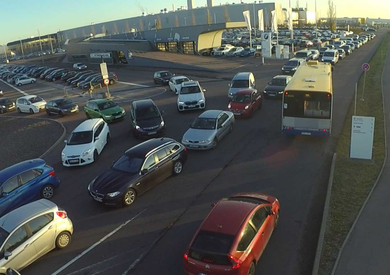 Traffic situation during shift change at BMW Leipzig plant