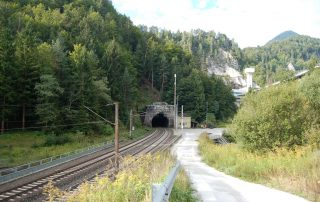 Karawanken tunnel before start of construction in viewing direction tunnel