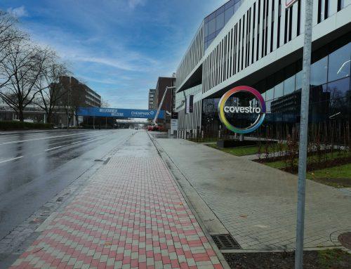 Inbetriebnahme der Vorfahrt zur Firmenzentrale von Covestro in Leverkusen